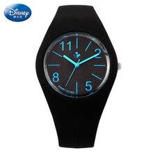 Disney бренда Детей Кварцевые часы 30 м водонепроницаемые часы дети Мальчик Девочка Микки Мультфильм Аниме Световой Силиконовые желе