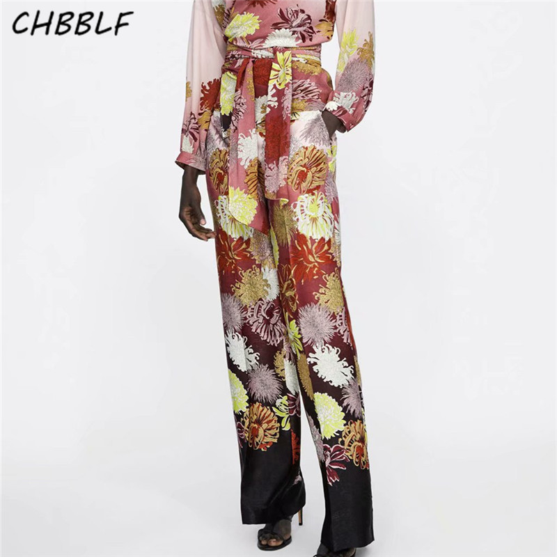 CHBBLF vintage floral   wide     leg     pants   side zipper fly design ladies streetwear casual long trousers pantalones POP1511