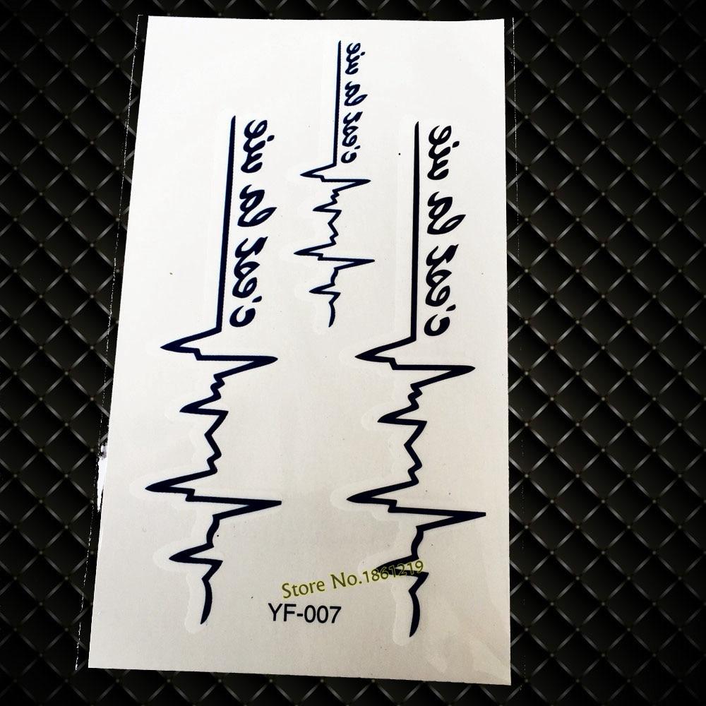 Disposable Black Blue Flash Fake Tattoos GYF-007 Wave ECG Heartbeats Design Sexy Women Waterproof Tattoo Nightclubs Body Makeup