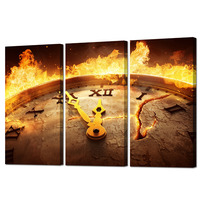 Visual Art Decor Rustic Home Decor Ancient Old Clock with Fire Grunge Rusty Background Canvas Wall Art for Living Room