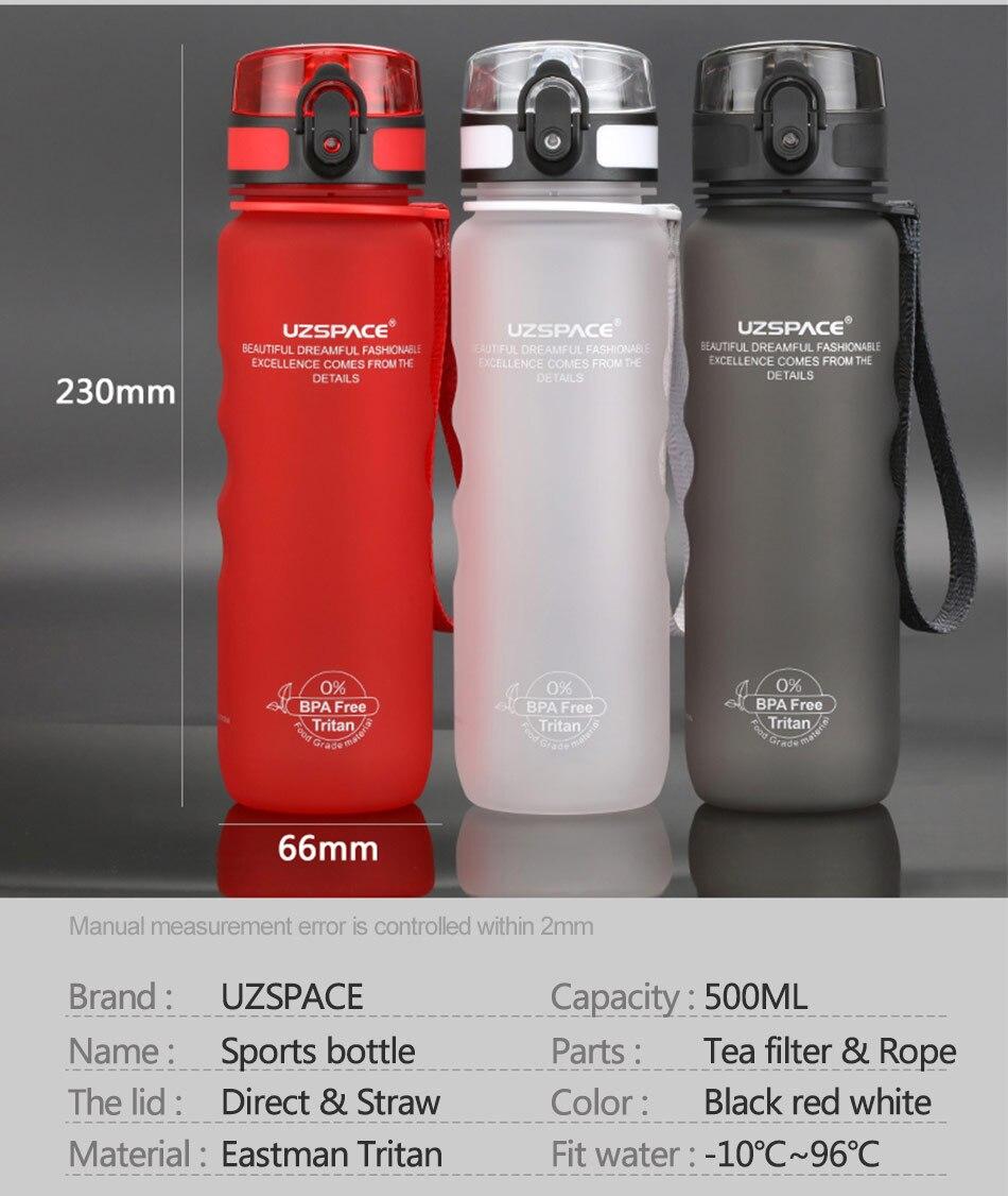 HTB1edU1wZuYBuNkSmRyq6AA3pXa4 UZSPACE Sport Water Bottle Direct Drink or Straw fruit Infuser Bottle 500ml Portable Leakproof Gourde Plastic Drinkware BPA Free