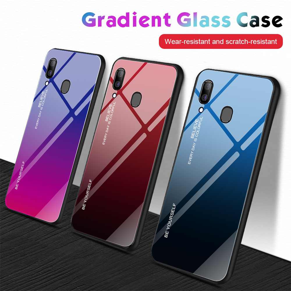 For Samsung Galaxy A20E A20S A20 Gradient Tempered Glass Case For Samsung Samsun A20 E S For Samsung Galaxy A20E A20S A20 Gradient Tempered Glass Case For Samsung Samsun A20 E S A 20e A20e Aurora Colorful Back Cover