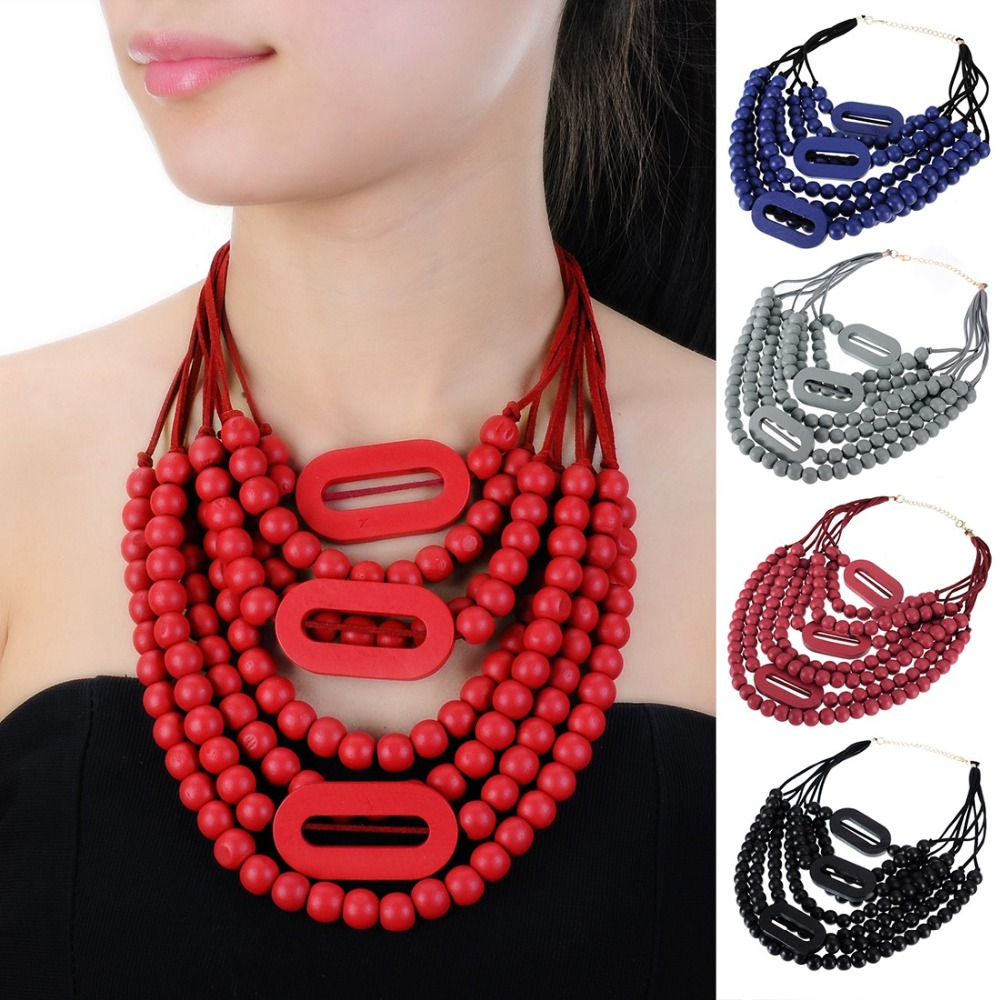 9 Color Fashion Bohemian Necklace Boho Beads Necklace For Women Multi Layer Necklaces Statement Gift Blue Red Black Rope