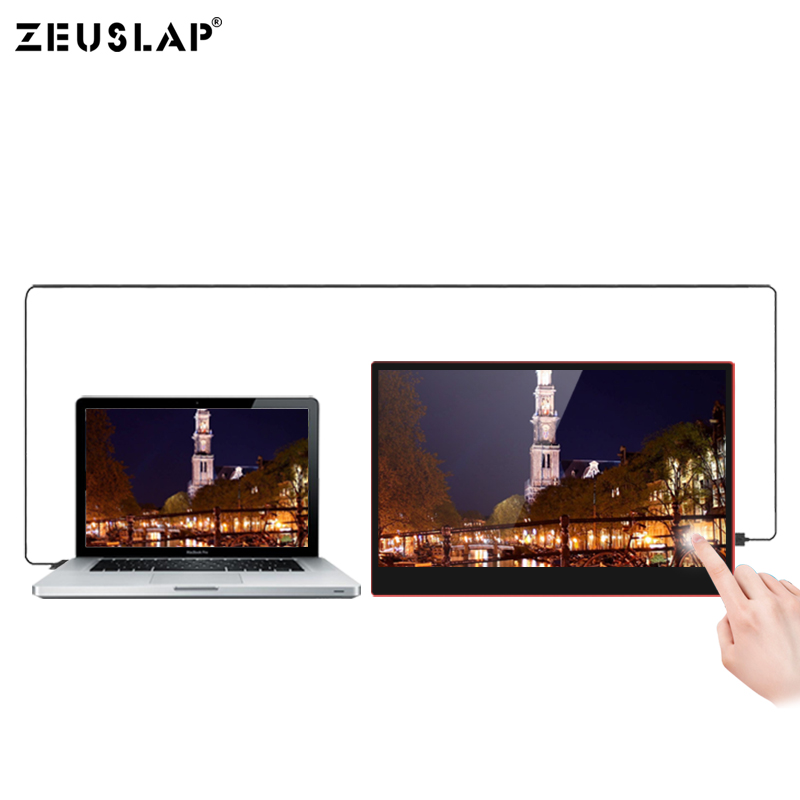 Image 4 - ZEUSLAP USB C HDMI 1080P HDR 10 Ponit Touching Portable Screen Monitor For Gaming Host, Thunderbolt Type C Phone and Laptop-in LCD Monitors from Computer & Office