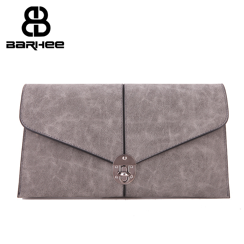 European Vintage Women Day Clutch Bag Faux Suede Leather Handbag Fashion Ladies Envelope Hand Bag Long Shoulder Strap Gray Blue