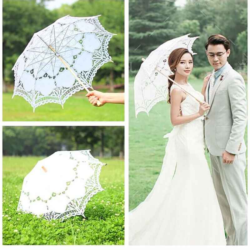 Umbrella European Lace Wedding Umbrella Bride Parasol Umbrella Accessories For Wedding Bridal Shower Manual Opening Long Handle