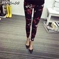 2016 Primavera Nova Moda Casual de Algodão ESCOVADO Leggings Leite Preto Calças Femininas Elástico Xadrez Grafite Leggings Calças Mulheres