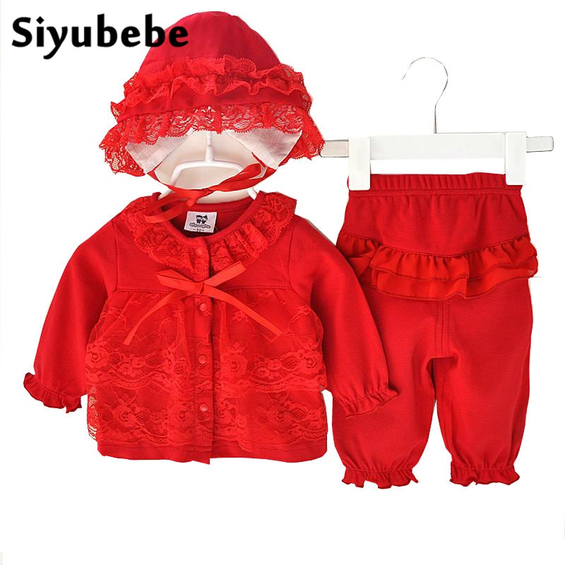 Infant Baby Clothing Sets Girls Long Sleeve Tops+Pant +Hat Kids Spring Autumn Outfits Set Bebe Toddler Suits Baby Girls Clothes
