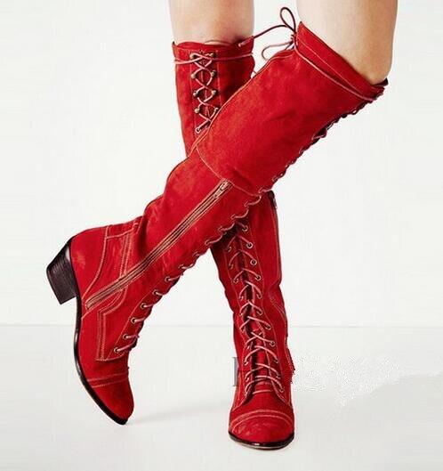 5 CM chunky talon côté zipper lace up genou haute bottes noir/rouge/gris/brown suede longues bottes pour femme taille 35-42 automne hiver bottes