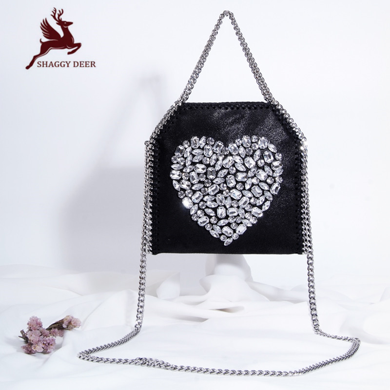 Mini 18cm Luxury Shaggy Deer PVC Star Rhinestones Crossbody Stella Chain Bag High Quality Handle Shoulder Chain Bag mini gray shaggy deer pvc quilted chain bag with cover real picture