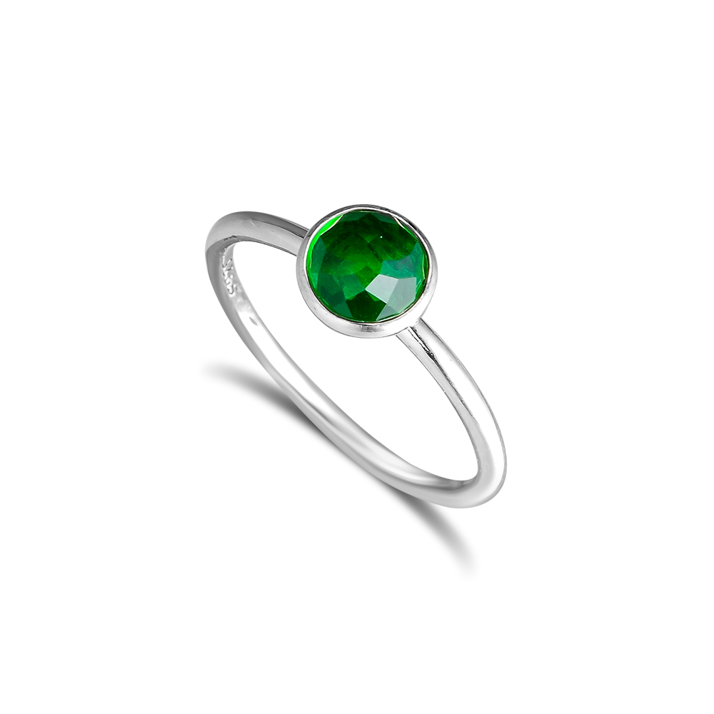 CKK 925 Sterling Silver Mungkin Tetesan, Royal-Green Crystal Rings - Perhiasan bagus