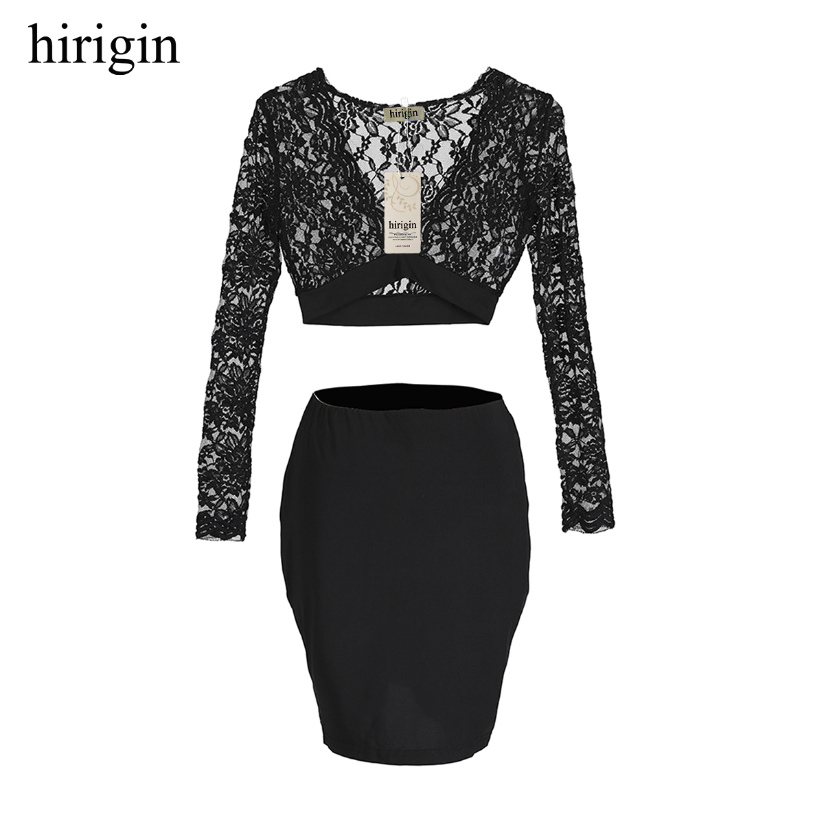 New sexy Women lace transparent 2pcs outfit sets Long Sleeve V-neck crop top and slim skirts Evening Party clubwears fashion