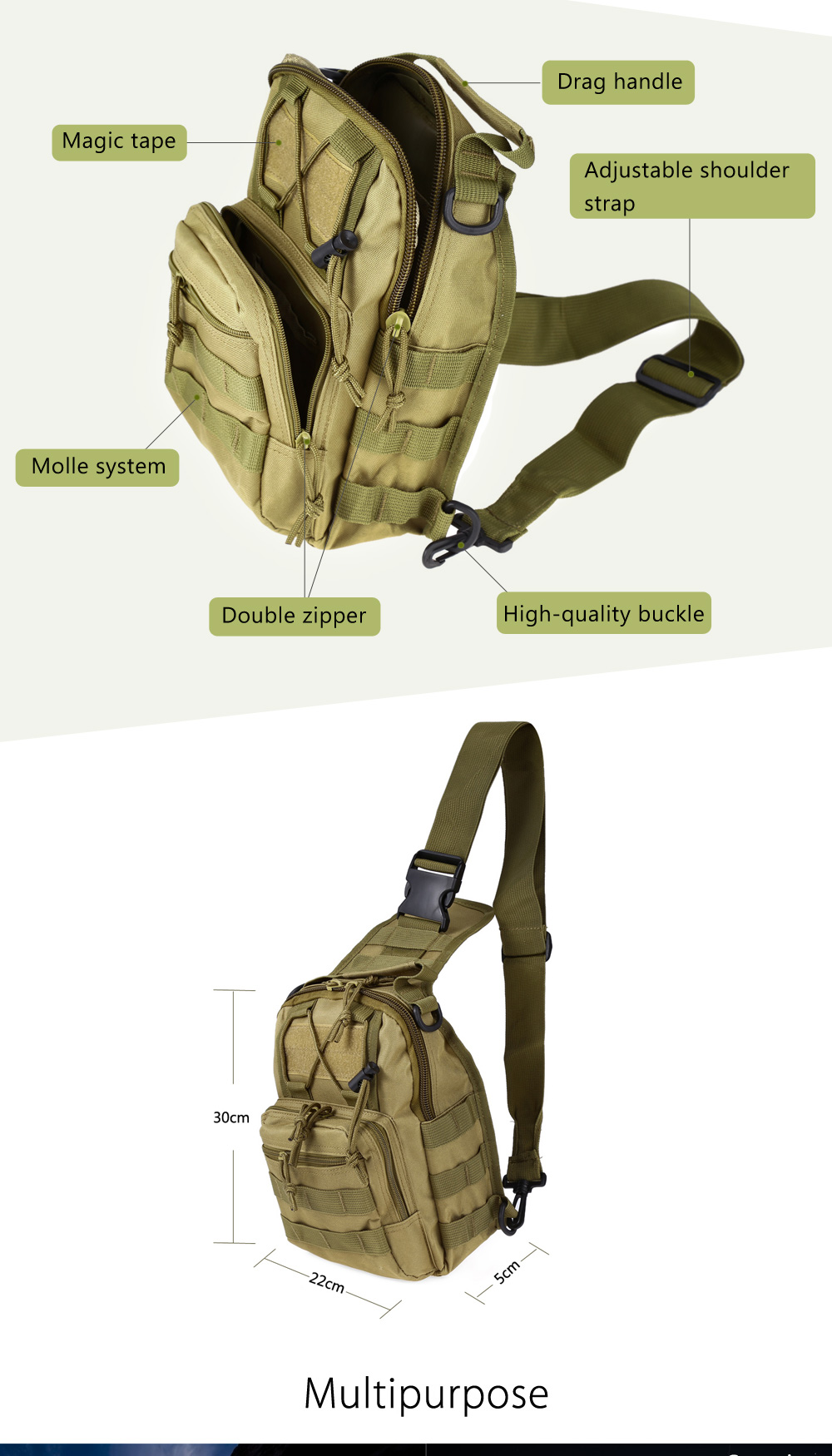 Outlife 600D Outdoor Military Tactical Camping Hiking Camouflage Hunting Shoulder Backpack Sadoun Sales International