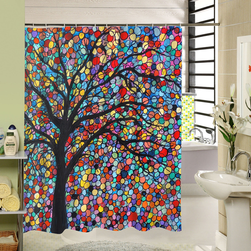 Art Design White Black Red Shower Curtain For Kid Who Love Science Home Decor Water Resistant Polyester Fabric Hooks In Curtains From