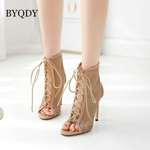 BYQDY 2019 New Summer Sexy Golden Bling Gladiator Sandals Women Pumps Shoes Lace-Up High Heels  Boots Gold Size 35-40
