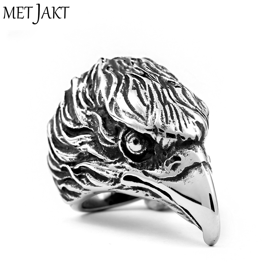 MetJakt Punk Rock Domineering Eagle Head Ring 925 Sterling Silver Ring for Men Personality Unique Vintage Thai Silver Jewelry 925 sterling silver zircon double eagle head imported silver ring