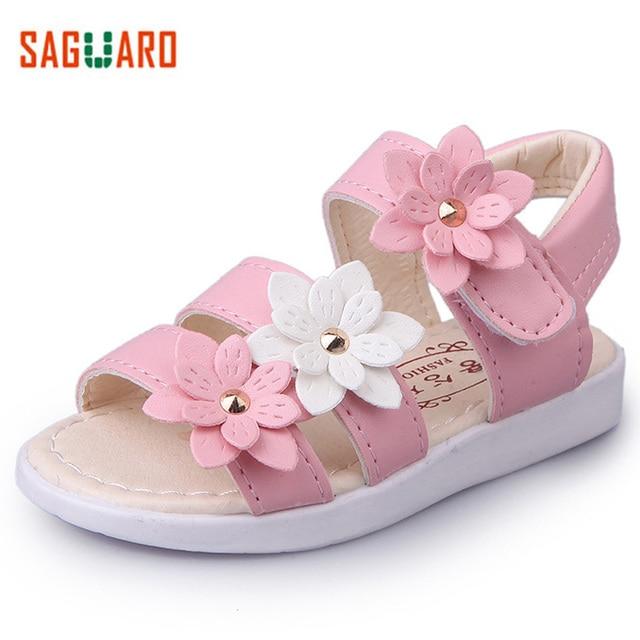 f64b5a854a86 2017 Summer Kids Girls Sandals Fashion Big Flower Girls Pricness