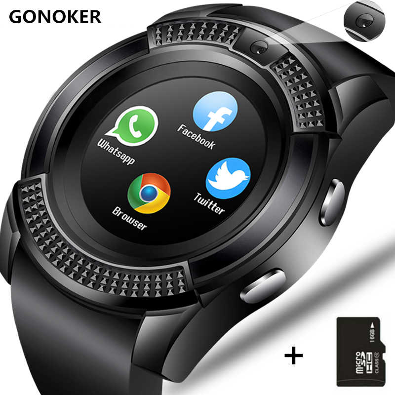 Smart Watch V8 Smartwatch Bluetooth Sentuh Layar Wrist Watch dengan Kamera/Slot Kartu SIM, tahan Air Smart Watch DZ09 Y1 Vs M2 A1
