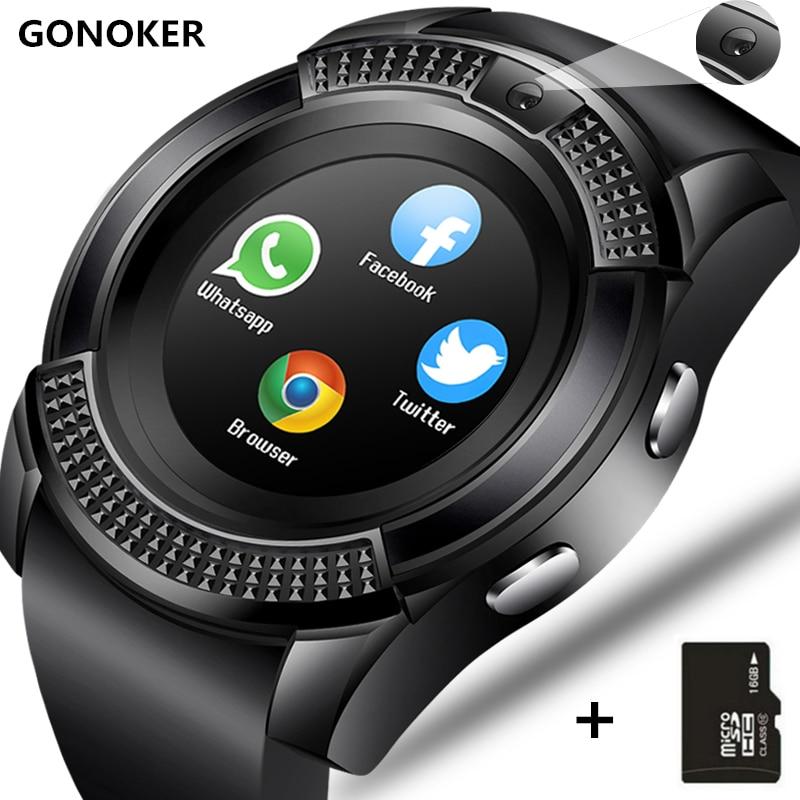 Relógio inteligente v8 relógio de pulso do tela táctil do bluetooth do smartwatch com slot para cartão da câmera/sim, relógio inteligente impermeável dz09 y1 vs m2 a1