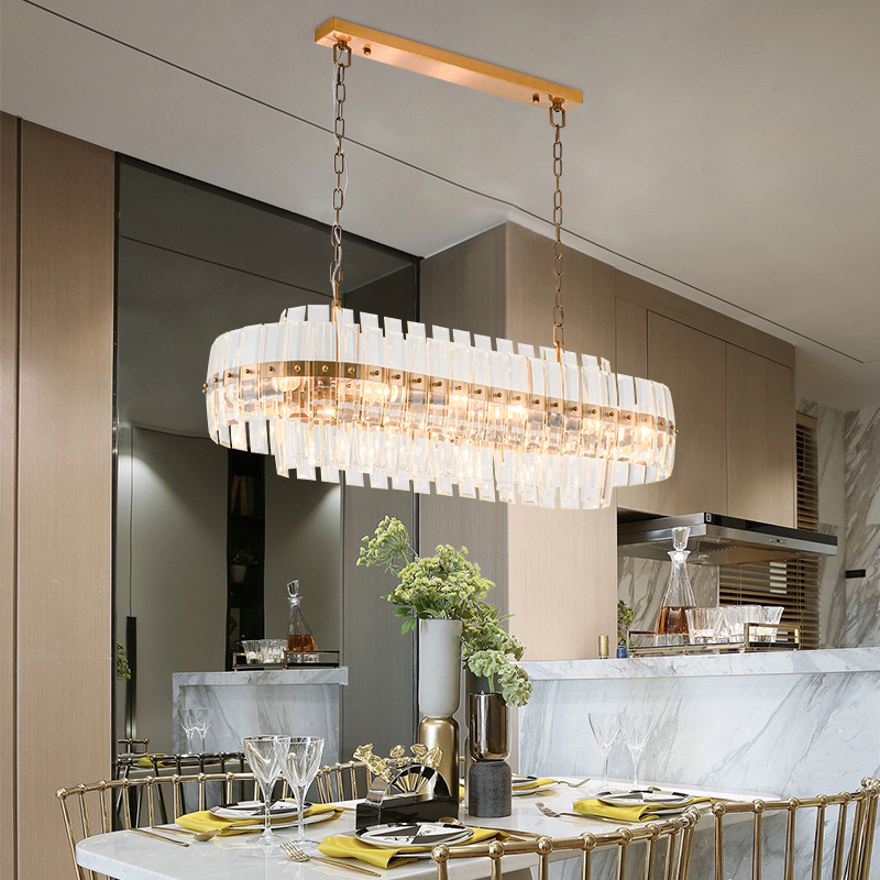 Gold Bronze Modern Chandeleir Lighting Oval Design Chain Crystal  1