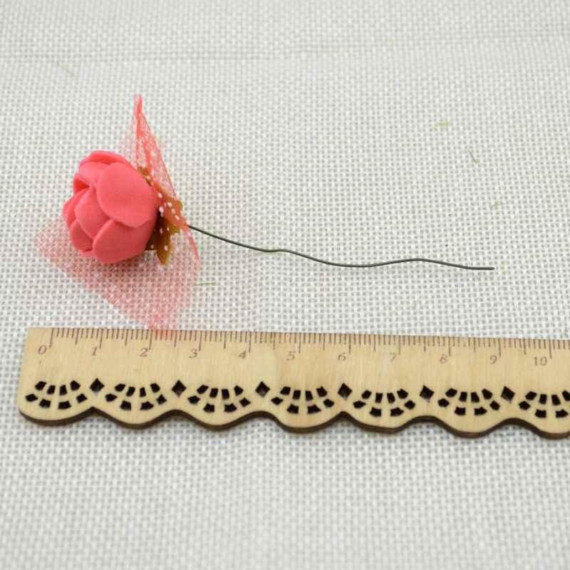 12 pièces pas cher livraison gratuite bricolage mini roses fleurs artificielles dentelle mariage fleur décoration fleur mousse main anneau matériel