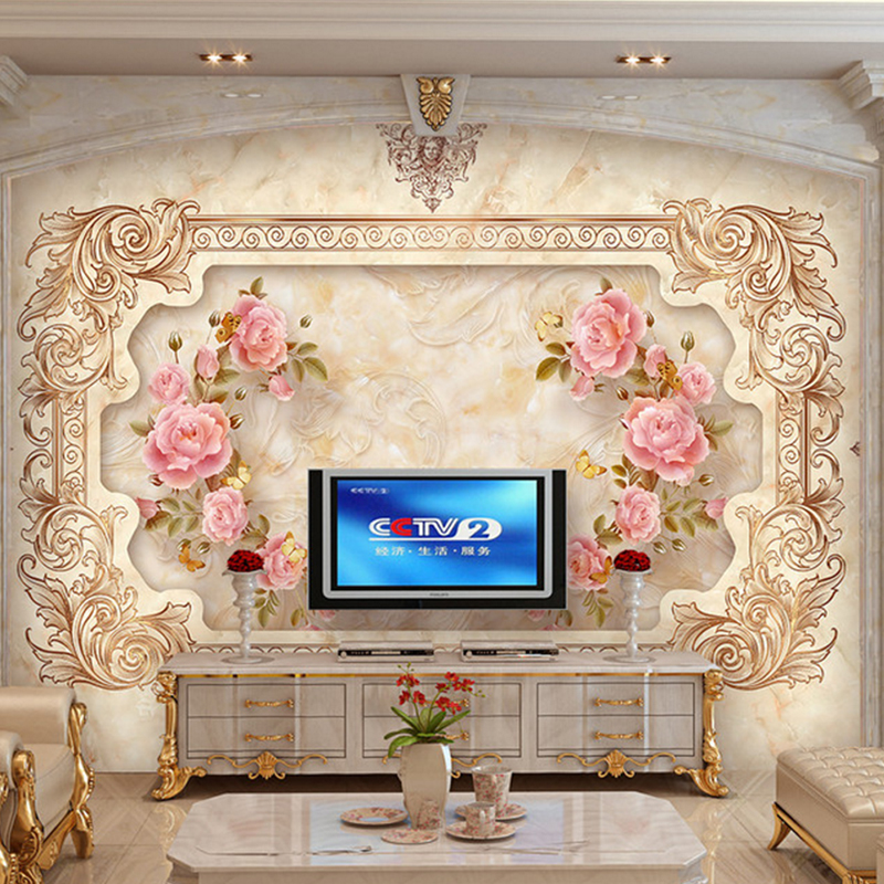 Custom photo wall murals marble textured wall rose flower for Custom photo mural