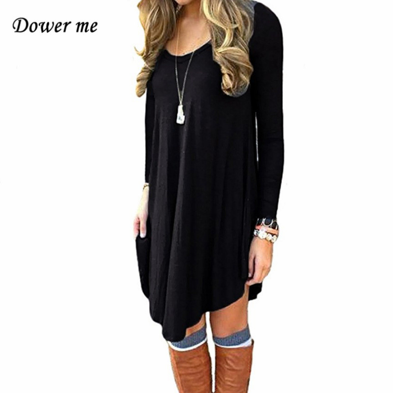 Повседневное свободные Асимметричный женское платье vestidos простой сплошной Цвет женские длинный рукав Платья для женщин yn3085