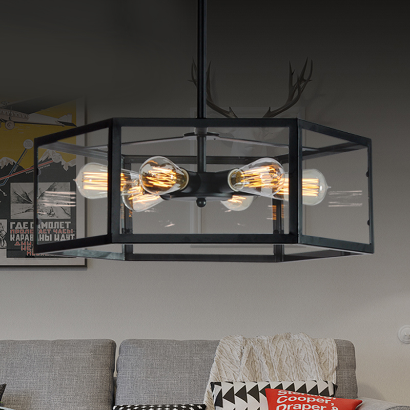 shop Cafe pendant lamp NEW Industrial wind glass box six angle iron Pendant light coffee GY93|light ceiling|light box ceiling|industrial ceilings -