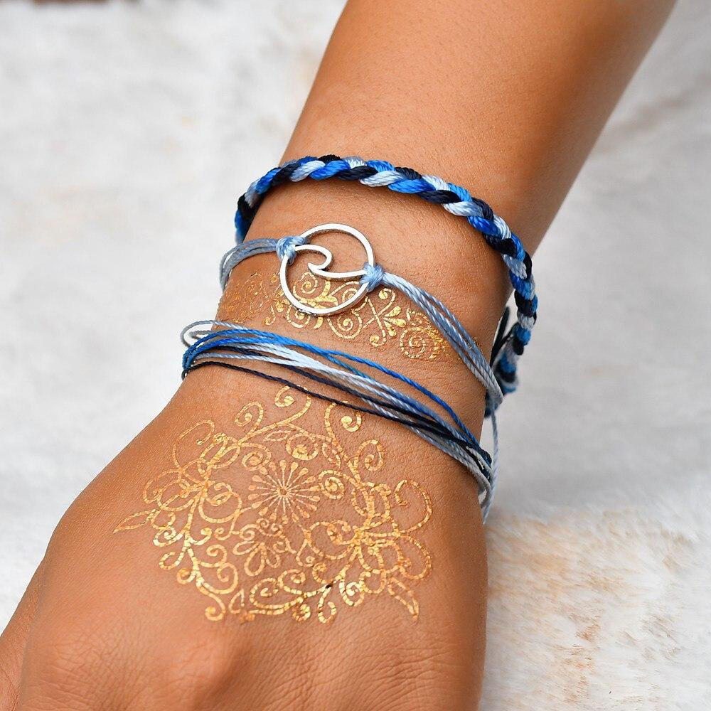3pcs bracelets for women boho beach surf Bangles femme handmade wave charms Bangles foot jewelry Dropshipping #30