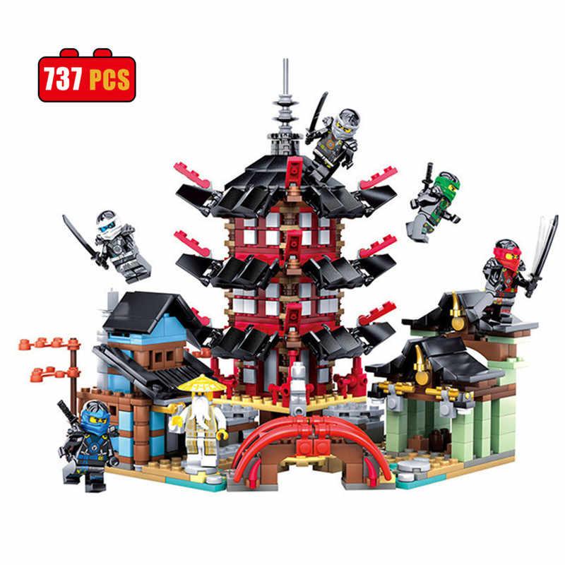 Шт. Новый 737 шт. ниндзя Храм Airjitzu Ninjagoes меньше версия Legoings модель строительные блоки игрушки Дети День рождения рождественские подарки