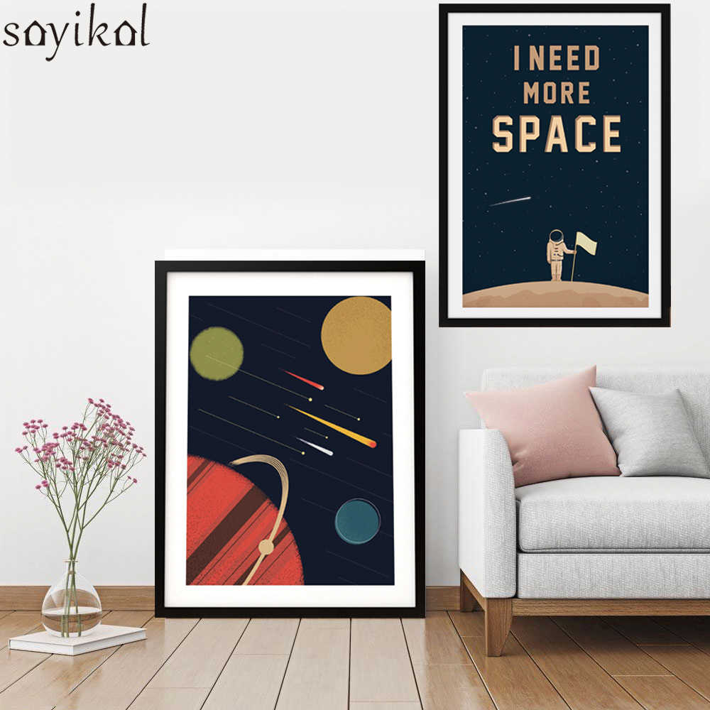 Planets Wall Art Space Posters And Prints Wall Art Canvas Prints I Need More Space Art Canvas Painting Cosmos Outer Planets Picture For Kid Room