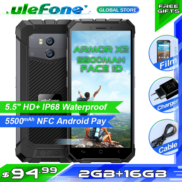 "Ulefone שריון X2 IP68 Waterproof Smartphone 5.5 ""HD + 18:9 Quad Core אנדרואיד 8.1 2 GB + 16 GB 13MP NFC 5500 mAh 3G נייד טלפון"