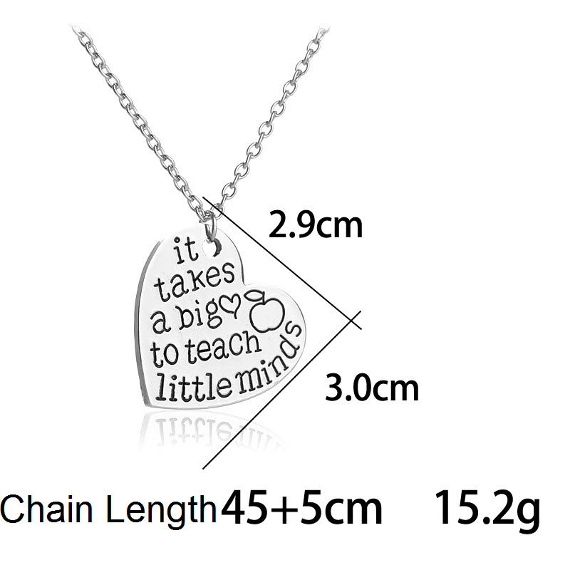 Ckysee It Takes Big Heart To Help Shape Little Minds Letter Pendant Necklaces Love Heart Chain Necklace For Teachers Day Gift