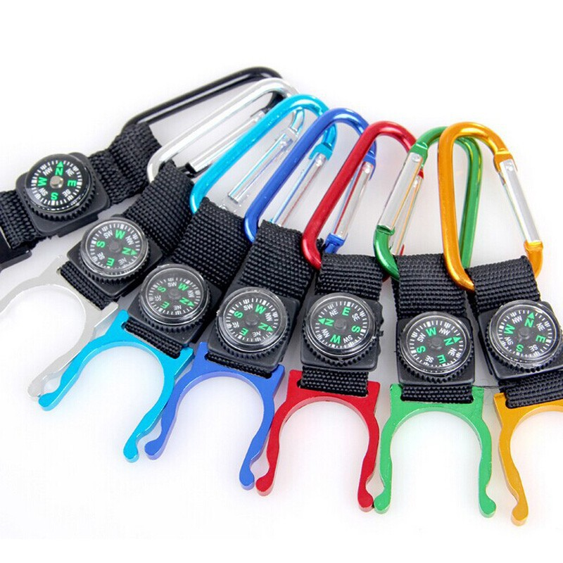 New Selling Outdoor Camping Aluminum Carabiner Water Bottle Rubber Holder Colorful Hiking Buckle Hook Carabiner with Compass
