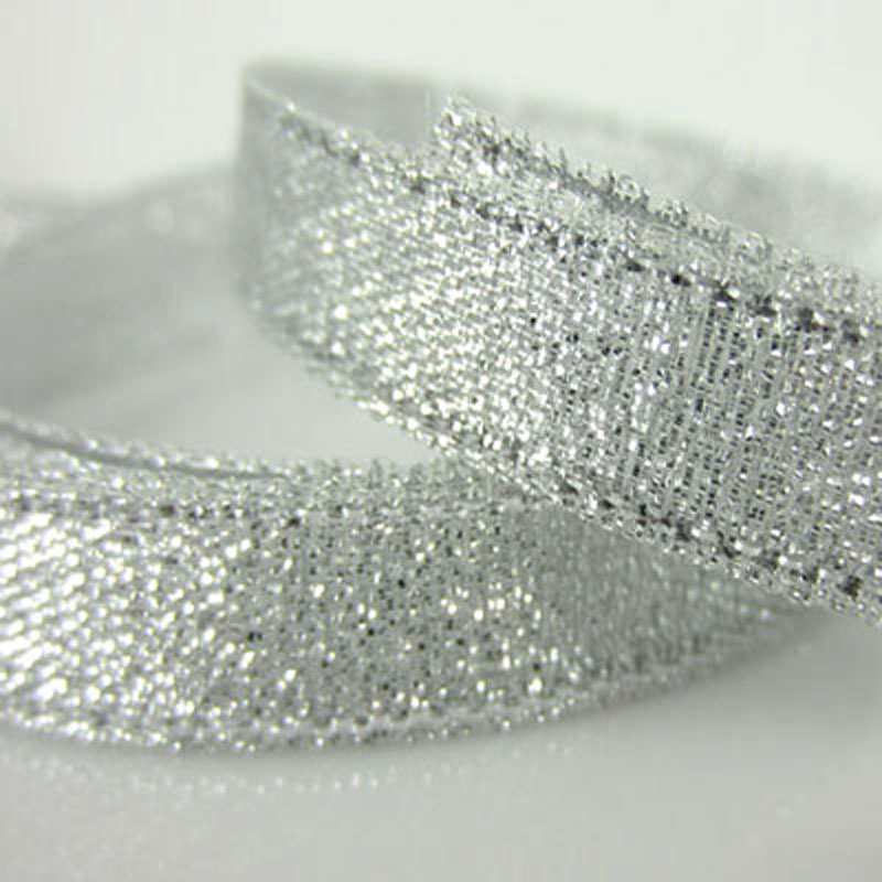 """250 ярд 3/"""" золотые серебряные блестящие атласные ленты для Рождества, свадьбы, дня рождения, подарочная упаковка, украшения для вечеринки сделанные своими руками 10 мм - Цвет: silver"""