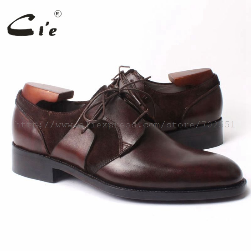 Ci'e Free Shipping Handmade men's Round Toe Derby  Leather Casual Goodyear Welt Craft Suede Calf Shoe Color Deep Brown No.D99 cie calf leather bespoke handmade men s square toe derby leather goodyear welt craft mark line shoe color deep flat blue no d98