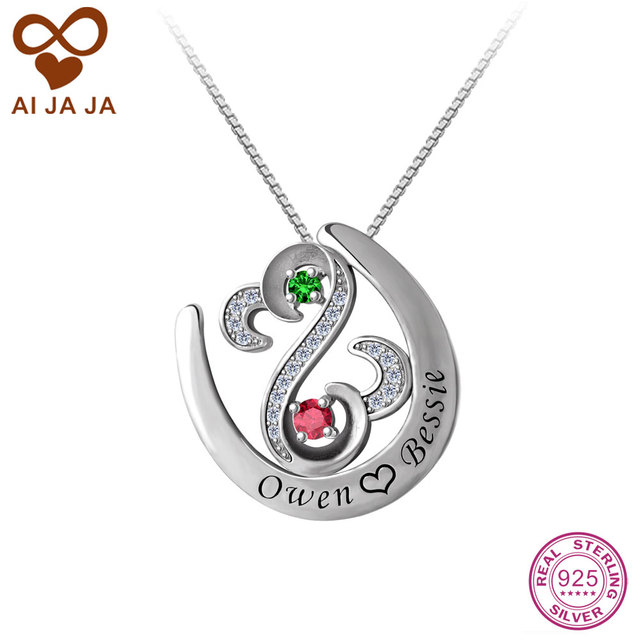 91a228c595 AIJAJA 925 Sterling Silver Open Heart Necklaces & Pendants Personalized  Birthstones Name Engraved Horseshoe Necklaces Women Gift