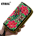 Hot Handmade Ethnic Flowers Embroidered Thailand Purse Clutch Mobile Phone Coin Bag Wallets Card Holder Luxury Brand Logo Wallet