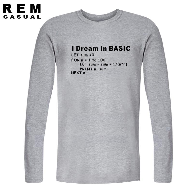 8aff13c1f W nowym stylu podstawowe programowanie język komputer koszulka Retro gier  wideo śmieszne z długim rękawem T Shirt mężczyźni top na co dzień koszulki  w W ...