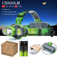 Hunting 30W 15000LM T6 2x COB LED Headlamp Flashlight 18650 USB Charger Battery Bicycle Bike Accessories