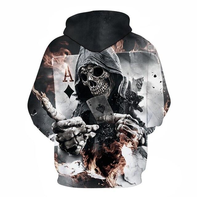 3D Zip Hoodies Skull Poker Hoodie Men Women Sweatshirt Brand Tracksuits Quality Plus Size Streetwear Drop Ship Hoody ZOOTOP BEAR 1