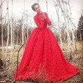 Участие платье халат де вечер высоким горлом длиной до пола с длинным рукавом кружева вечернее платье-линии длинный красный вечернее платье