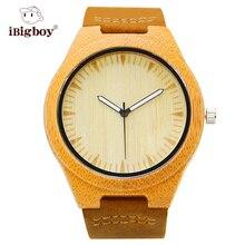 IBigboy Honorable IB-1600Cb Banda de Cuarzo de Pulsera de Cuero Reloj de La Moda Retro De Madera De Bambú