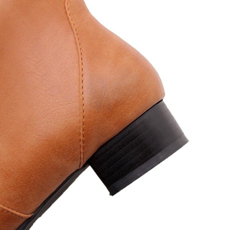 218 33 Pu Más Punta Calzado Corta Alta Zapatos Zip amarillo Tacones Bajos Blxqpyt Negro Boot Mujer Redonda Rodilla 47 Botas 2018 Felpa 32 Grande FxwqRP1