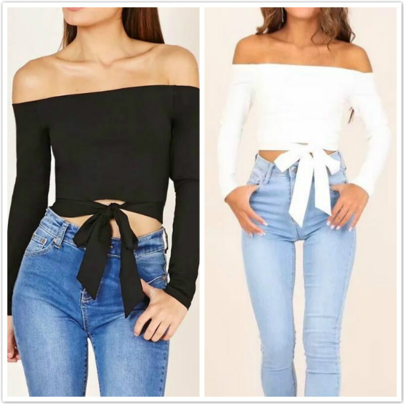 2018 Sexy off shoulder tie up white crop tops female long sleeve cropped women casual bow autumn streetwear t shirt ladies tops