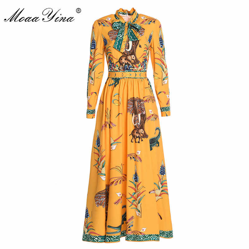 MoaaYina Fashion Designer Runway Dress Lente Vrouwen Lange mouwen Boog kraag Animal Bloemenprint Casual Holiday Geel Maxi Jurk