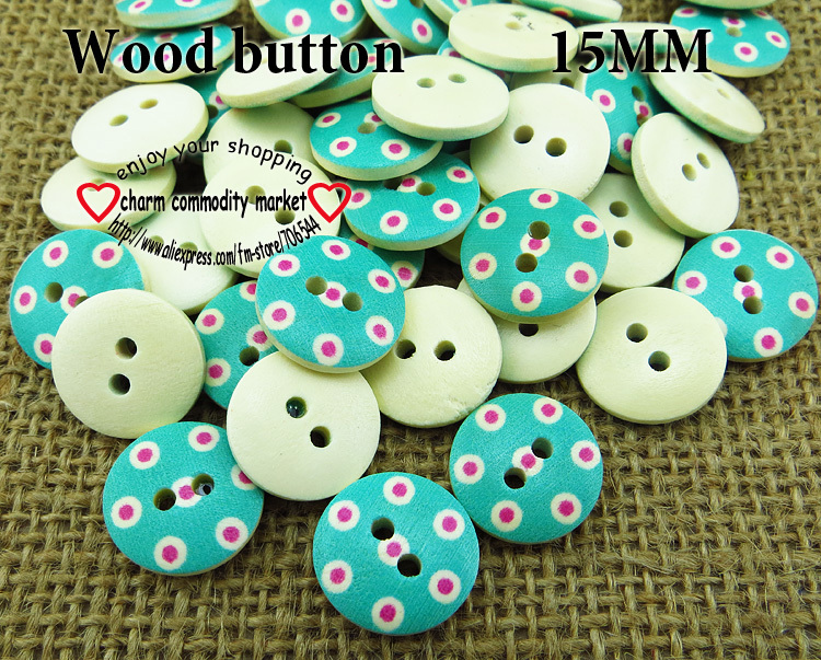 Nºblue 100pcs 15mm Round Painted Wooden Buttons For Sewing Clothes