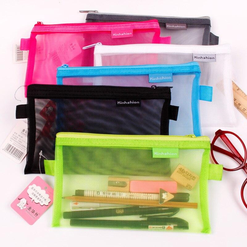 1 יחידות שקוף רשת רוכסן עט תיק קלמר אחסון חבילה לחורה קוריאני מכתבים ציוד לבית ספר