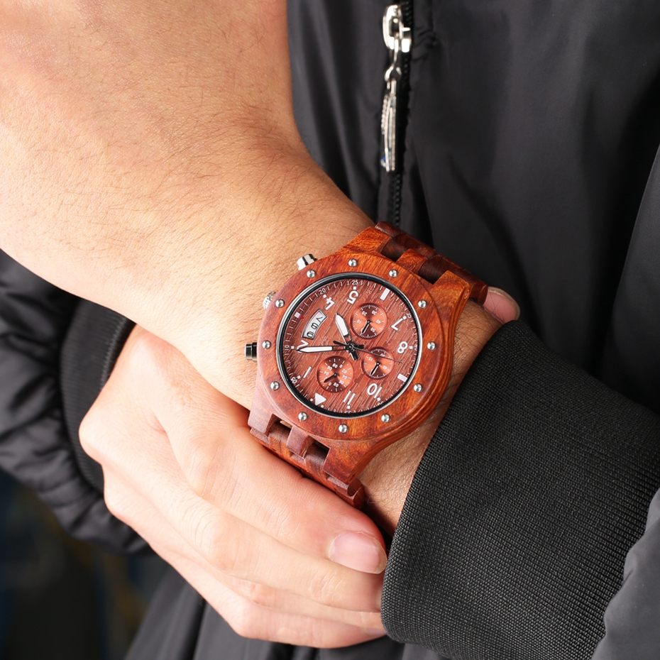 Wooden Watch Men erkek kol saati Top Luxury Stylish Redwood Timepieces Chronograph Military Date Calendar Quartz Watches for Men 2019 2020 2021 2022 (24)