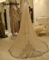 Romantic Champagne Wedding Veil One Layer Lace Applique Tulle Bridal Veils Wedding Accessories with Comb Ivory White